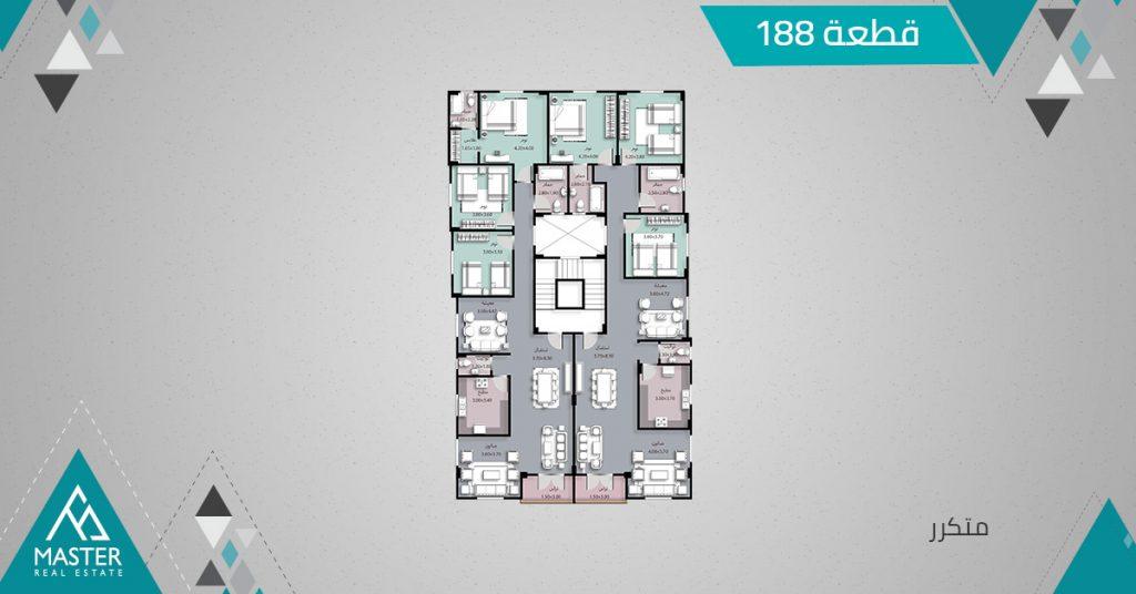 شقة متكرر فى مشروع 188 بمنطقة اللوتس الجديدة بالتجمع الخامس