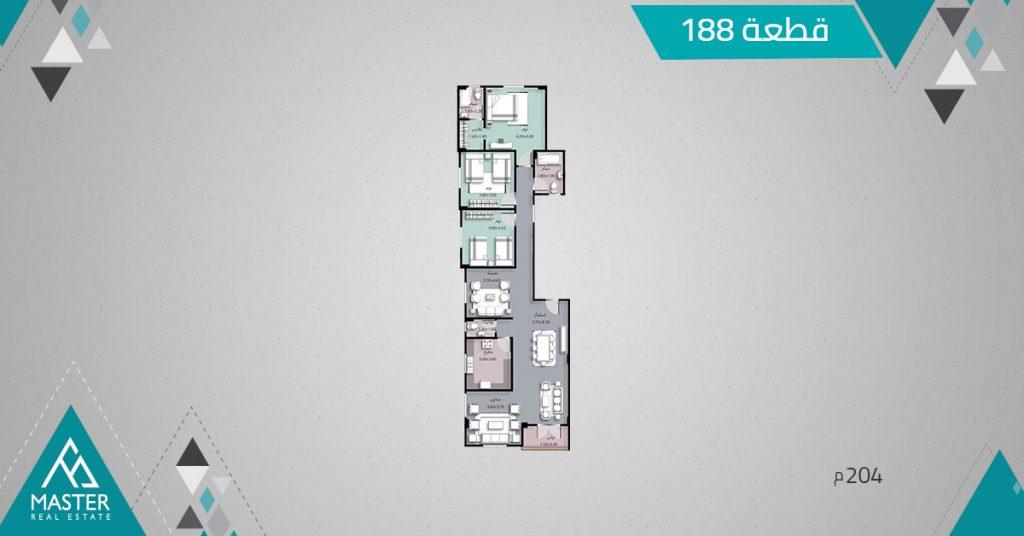 شقة 204م فى مشروع 188 بمنطقة اللوتس الجديدة بالتجمع الخامس